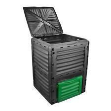 LARGE GARDEN COMPOSTING BIN 300 LITER BLACK PLASTIC WASTE COMPOSTER ECO RECYCLE
