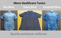 Mens hospital tunic top Nurse Carer Dentist Work wear Healthcare uniform Vet