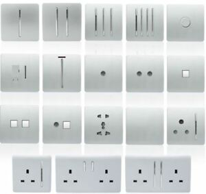 Trendi Switch Silver Designer Light switch, Plug Sockets, Fused Spurs, TV, Phone