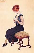 Beautiful Woman Undressing? Signed Constantin Meunier Postcard