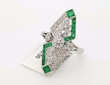 18K WHITE GOLD COLOMBIAN PRINCESS CUT EMERALD & ROUND DIAMOND CROWN LADIES RING