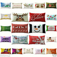 Home Sofa Decor Xmas Rectangle Cotton Linen Waist Pillow Cases Cushion Covers
