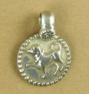 Old /antique Indian Tribal silver pendant/ clip on charm. Dog. Fine silver.