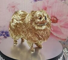 More details for pomeranian figurine in golden chrome effect with added sparkling effect