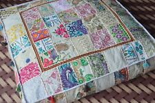 "35"" Patchwork Large Floor Ottoman Pouf Cushion Pillow Cover Square Pet Dog Bed"