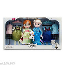 Disney Store Frozen Animators Collection GIFTSET Anna and Elsa Doll Gift Set