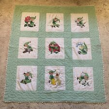 vintage hand stitched baby quilt cute kitschy happy Elves