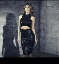 Missguided X Nicole Scherzinger Black Sequin Midi Dress Us 4 UK 8 Small
