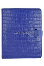 New Cover Case Stand iPAD 2 3 & 4 Blue Croc Print Luxury Real Genuine Leather