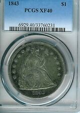 1843 Seated Liberty Dollar : PCGS XF40