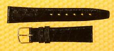 17mm GUCCI 3000M Real-Crocodile Leather Watch Band Strap BLACK Swiss Made <NWoT>