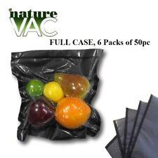6 Pack NatureVAC 15''x20'' 50pc Precut Vacuum Seal Bags BLK/CLEAR USA FREE SHIP