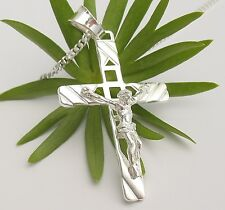 Echt Silber Kreuz Jesus Anhänger mit 50 cm Kette Herrenschmuck Herren Schmuck