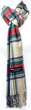Winter Warm Stewart Check Plaid Wool SCOTLAND Made 100% CASHMERE Scarf Scarves