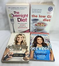 Diet books x 4 Overnight Diet, Low GI Diet, Create Ultimate Body, Get Real!