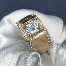 Near White 1.50 Ct Moissanite Engagement Ring For Man'S 10k Solid Yellow Gold 8
