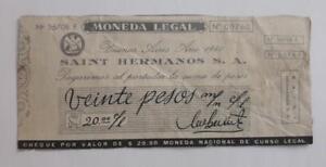 ARGENTINA script Saint Hermanos token 20pesos check WWII 1940 chocolate c° ficha