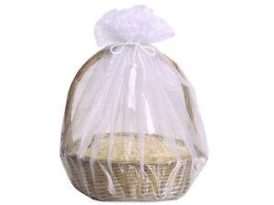 3 Sheer White Organza Gift Basket Wraps Tassel Ties Christmas Holiday Weddings