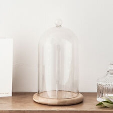Glass Cloche Bell Jar Display Dome with Bamboo Base