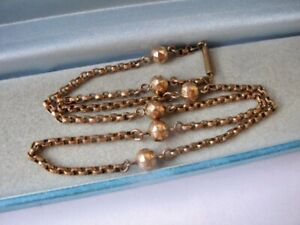 """Antique Pinchbeck Gold Necklace 18.5"""" Belcher Chain Jewellery Rose Rolled 11.3g"""