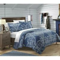 Chic Home QS2693-US Pastola Reversible Printed Quilt Quilt Set - Navy - Twin ...