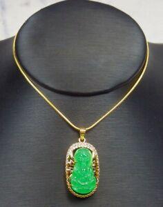 Yellow Gold Plate Green JADE Pendant Guanyin Kwan yin Diamond Imitation 322221