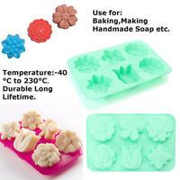 6 Cavity Flower Shaped Silicone Soap Mold DIY Handmade Candle Cake Mold AU