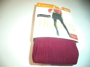 S/M Ladies No Nonsense Patterned Ribbed Scarlet Fashion Tights With Control Top