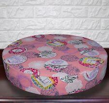 AL259r Fuschia Baby Pink Eiffel Tower Cotton Canvas 3D Round Seat Cushion Cover