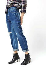 NEW Topshop BOYFRIEND Blue Panel RIPPED FRAYED Crop Jeans Size 16 W34 L30