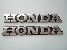 2 x Honda Retro Classic Street Emblem Badge Fuel Tank Decals SILVER + BLACK