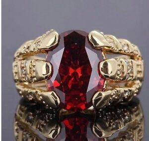 Gorgeous SIZE 12 Red Garnet 10K Yellow Gold Filled Ring