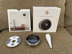 Google 3rd gen Nest Learning Thermostat - Stainless Steel - T3007ES