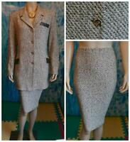St. John Collection Tweed Brown Cream Jacket Skirt L12 14 2pc Suit Leather Trim