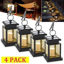 4X Solar Power LED Candle Lights Outdoor Garden Landscape Lantern Hanging Lamp