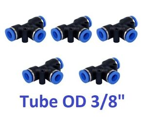 "Tee Union Pneumatic Push In To Connect Fitting Connector Tube OD 3/8"" 5 Pieces"