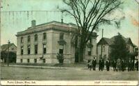 "Antique 1908 Postcard  PERU Indiana  ""PUBLIC LIBRARY""  BOY  DOG     CU WILLIAMS"