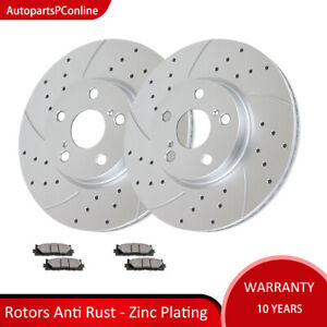 Stirling 2015 For Toyota Corolla Rear Cross Drilled Slotted and Anti Rust Coated Disc Brake Rotors and Ceramic Brake Pads Note: 300mm Dia, 35mm height