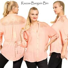 New Ladies Apricot Top With Lace Plus Size 16/2XL (9715)JL