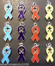 12 Enamel Autism Awareness Ribbon Puzzle Piece Charm Jewelry Bracelet Earring A1