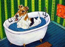 Fox Terrier taking a bath picture Dog Art 13x19 Glossy Print