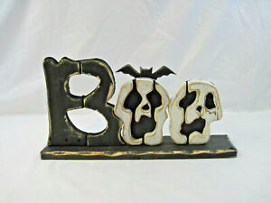 """23-1/4 Wide by 11-3/4"""" Tall Pier 1 Imports Black White Wood Boo Sign Decor"""