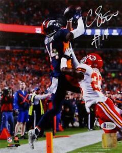 Courtland Sutton Signed Denver Broncos 8x10 Catching PF Photo- Beckett Auth