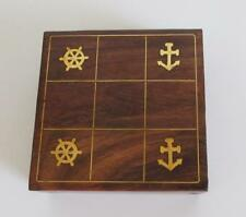 Premium Solid Wood Tic Tac Toe Portable Game Board Set Nautical Decor Gift Gifts