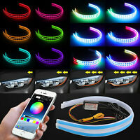 2x RGB APP Slim Flexible LED DRL Daytime Running Strip Light For Headlight 60CM