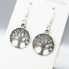 925 Sterling Silver Hooks Vintage Silver Alloy Celtic Tree Of Life Earrings NEW