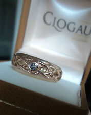 Clogau EARLY Welsh Rose & Yellow Gold Diamond Celtic Weave Ring  - size M / N