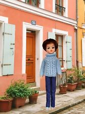 Baby blue hand-knitted Aran-style jumper for Sindy - doll not included