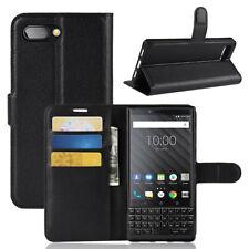 Wallet Black Leather Flip Card Case Cover For Blackberry Key2 Genuine Au Seller