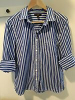 J. Crew Blue and White Striped Poplin Shirt Size 10 Excellent!